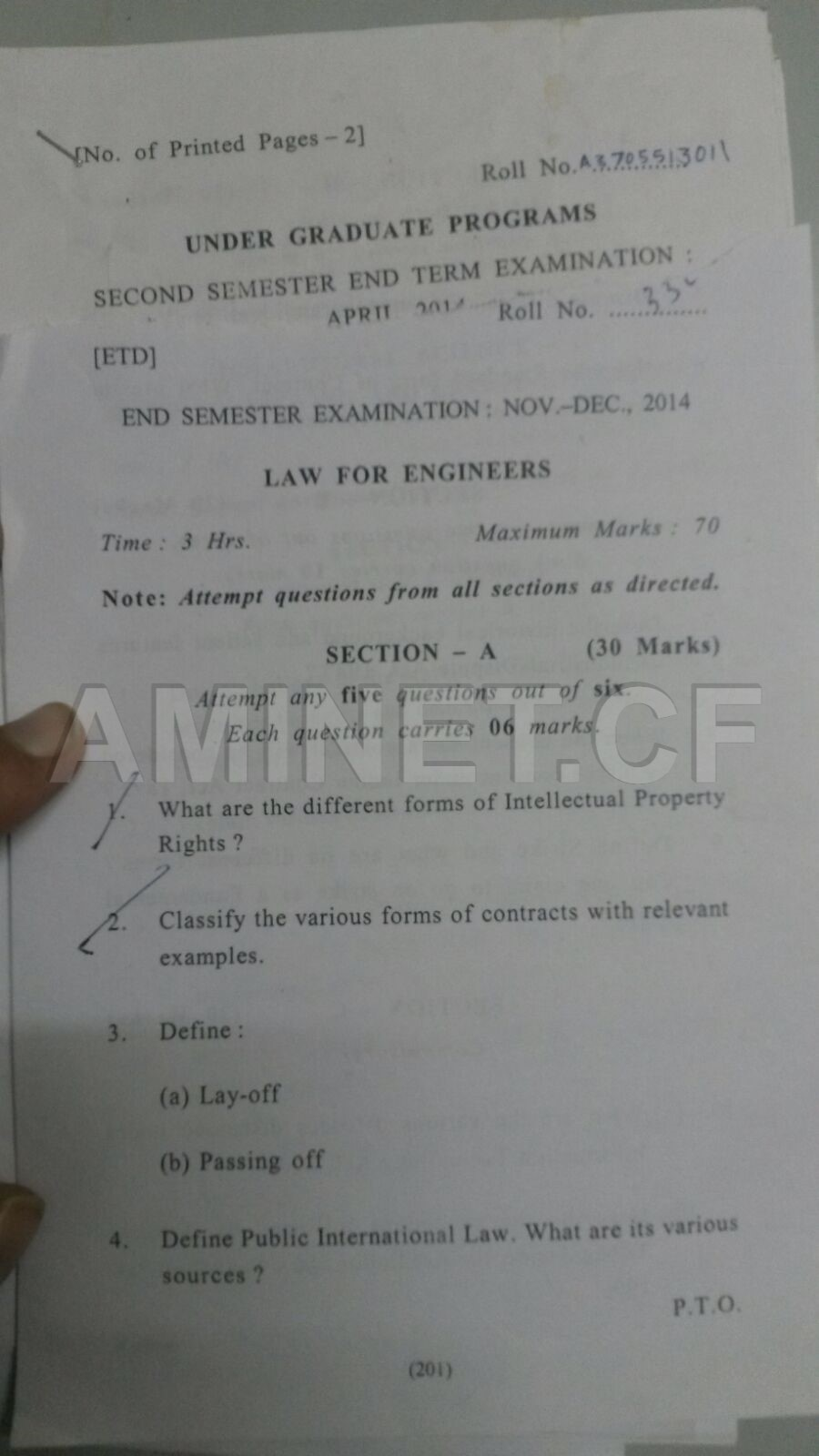 Amity law for engineers question paper 2014-law 1.jpg